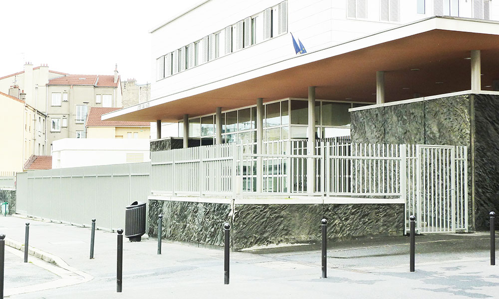 Lycée Jean Macé - Vitry-sur-Seine (94) - Élévation d'une grille de 40 m, portail coulissant, portillon, grilles de défense